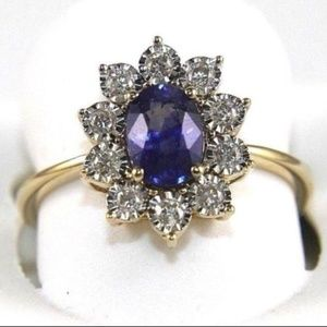 Blue Sapphire Ring w/Diamond Halo 14k YG 1.40Ct